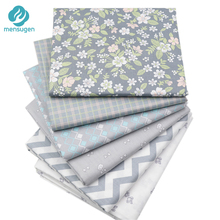 Mensugen 6pcs/lot 40cm*50cm Grey Floral Cotton Fabric for Patchwork Quliting Sewing Scrapbook DIY Material Tilda Doll Cloth(China)