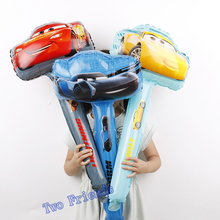 Racing car Hand Stick balloons 15pcs/lot cartoon car handheld foil balloon party supplies birthday party decorations kids toys(China)