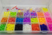 Factory Sell 4400pcs Colorful Rubber Loom Band Box Kit Children DIY Bracelet Gift Children Toy(China)