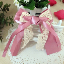 4 Colors Silky Ribbon Cloth & White Lace Bows Big Hair Clips for Girls Barretts for Women Fashion Headwear
