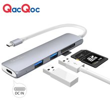 QacQoc GN22A Aluminium 5-in-1 USB C Hub with 2 USB 3.0 Ports and SD/Mirco SD Type-C Charging Port for Macbook and Macbook pro