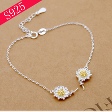 DIY Accessories Silver Flower S925 Sterling Silver Bracelet Pearl Empty Care Woman Silver Jewelry Making(China)