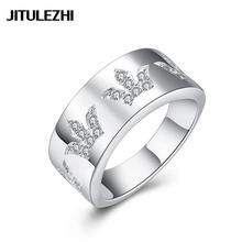 Fashion Silver plated rings for men women zircon Bohemia bague argent men jewelry crystal Hollow Jewelry supplier Christmas(China)