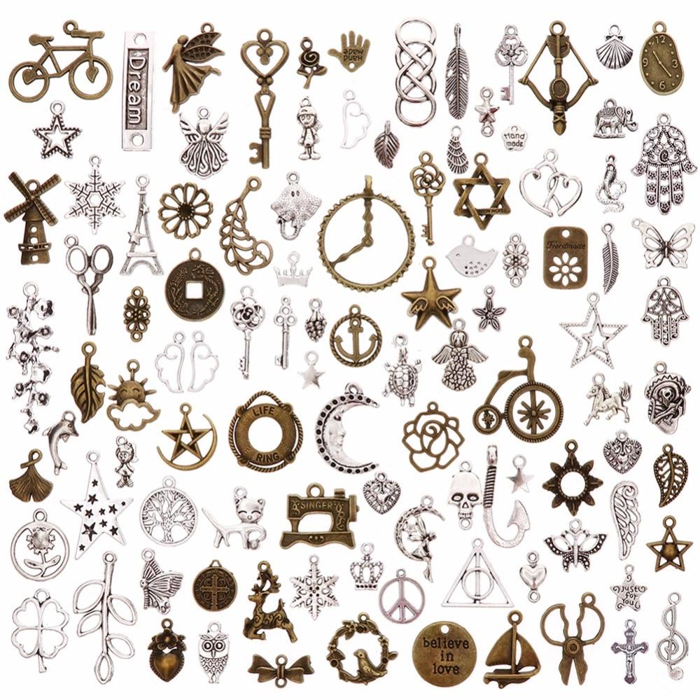 50 BULK Charms Antiqued Bronze Set Assorted Lot Mixed Pendants Findings