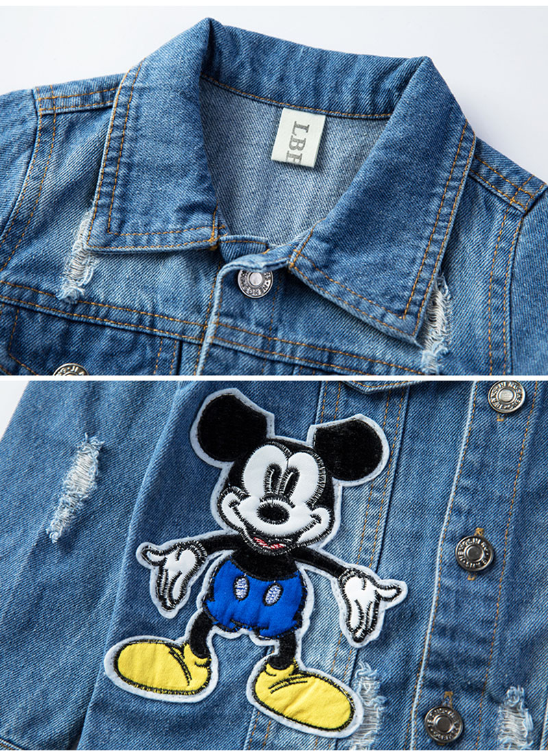 19 Mickey Denim Jacket For Boys Fashion Coats Children Clothing Autumn Baby Girls Clothes Outerwear Cartoon Jean Jackets Coat 11