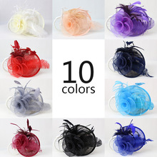 European Ladies Sinamay Feather Mesh Flower Fascinator Hair Accessories Evening Party Wedding WOmen Headpiece Red Purple Beige