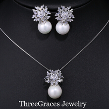2017 New Design White Gold Color Synthetic Diamond Pearl Drop Pendant Necklace And Earrings Jewelry Sets For Women JS082