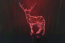 Creative 3D LED 7 color deer changing visual illusion light bedroom light action figures PMMA table lamp AnnO000338WD