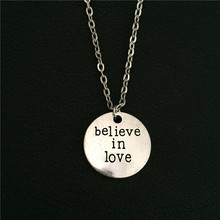 "New Fashion Silver Tone ""Believe in Love"" Message Pendant Love Necklace Birthday Gift for Girlfriend Best Friends Couple Jewelry"