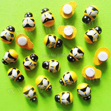 1000PCS/LOT.Wood mini yellow bee stickers,Sponge bug stickers,Easter decoration,Home ornament.3D wall stickers,13x9mm,On stock(China)