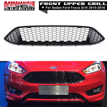 Car Front Bumper Grille Racing Grills For Ford Focus 2015 2016 ABS Gloss Black Honeycomb Grill Cover(China)