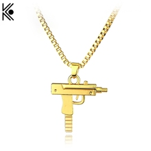 No Carving Letters Hip hop long necklace Gold Color Pistol Uzi Gun Chain Pendants & Necklaces Men/Women HipHop Maxi Necklace