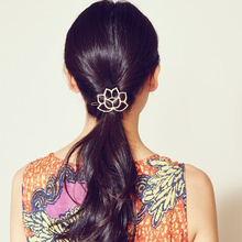 Timlee H101 Free shipping Grace Carve Patterns Lotus Flower Hair Clip Hair Pins Girls Lovely Hair Accessary Gift(China)