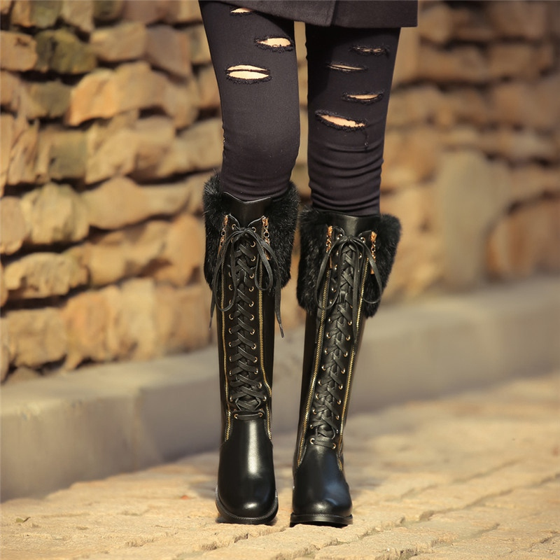 Black Cowhide Round Toe Crossed Lace-up Thick Heels Knee High Boots For Women 2016 Winter New Warm Fashion Charming Shoes<br><br>Aliexpress