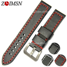 ZLIMSN Thick Watch Belt Genuine Leather Watchbands 20 22 24mm Bands Silver Buckle Watches Accessories Relojes Hombre TG116(China)