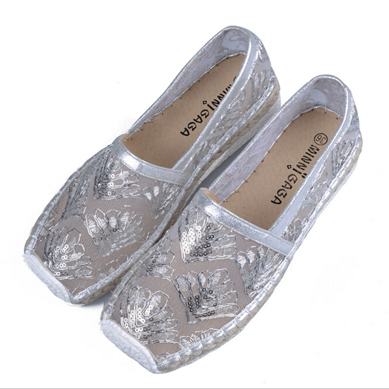 Female summer shoes square head flat women shoes platform shoes sequined fisherman Carrefour pregnant mom z185<br><br>Aliexpress