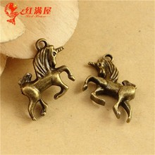 22*14*5MM Antique Bronze Vintage Retro metal jewelry pendant, Unicorn charm beads, mobile phone animal charms for jewelry making