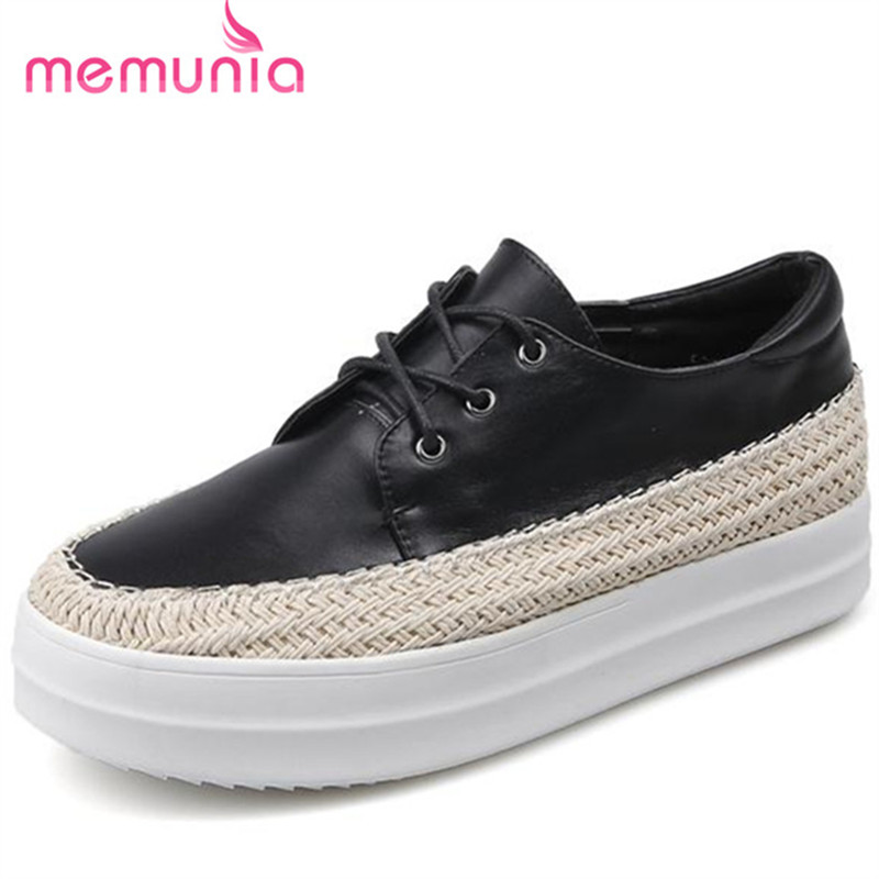 MEMUNIA Flat platform shoes women lace-up genuine leather loafers shoes four seasons college wind big size 34-43 single shoes<br>