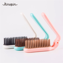 3 Colors Portable Folding Hair Comb Brush Compact Pocket Size Anti-static massage Comb for Wome TPEE ABS 180mm*29mm Hairdressing(China)