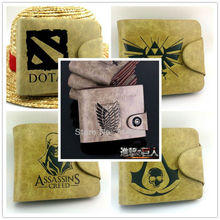 Game The Legend of Zelda Assassin's Creed Attack on Titan Logo wallets Anime money bag DOTA 2 PU wallet free shipping