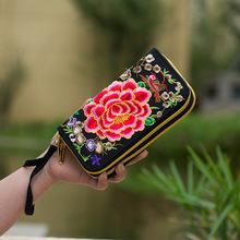 National Trend Embroidered Women Wallets Long Handmade Embroidery Floral Canvas Double Zipper Coin Purse Credit Card Holder