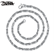 ZABRA Real 925 Sterling Silver 4mm 60cm Bamboo Shape Men's Long Necklace Vintage Steampunk Retro Link Chain Cool Silver Jewelry(China)