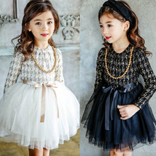 Korea Garment Autumn And Winter Girls Dress Quality Princess Increase Down Thickening Thick  Mesh 2 Colour