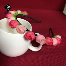 Women hair band Bride Bridesmaid wreath ribbon accessories essential headband Varied flowers hair jewelry tiaras and crown YL146(China)