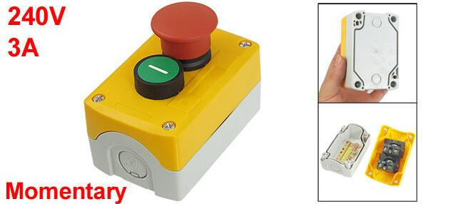 240V 3A SPST NC Red Mushroom NO Green Flat Control Momentary Push Button Switch<br><br>Aliexpress