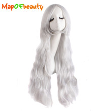 MapofBeauty Long Curly cosplay wigs 80cm blue Light blonde Silver 13 colors Heat Resistant Synthetic hair(China)
