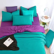 UNIKEA . . 2016 New Minimalism Home Bedding Sets Soft and Comfortable Sea Green Duver Quilt Cover Bed Sheet Pillowcase King Quee(China)