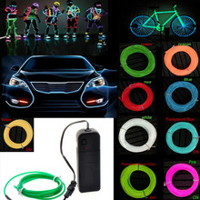 15FT 5M Blue EL wire Flexible Neon Glow Light EL Cable Rope for Car Party Decorations Ligh with 2 AA battery pack Free Shipping(China)