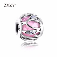 ZMZY Authentic 925 Sterling Silver Charms Abstract Charm with Pink Faceted Cubic Zirconia Beads Fits Pandora Charm Bracelet(China)
