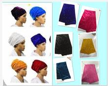 Beauty design African turban gele beads and sequins Solid Velvet turban 14colors african headtie soft african scraf Hot sale.(China)