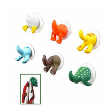 1XCartoon Lovely Animal Tail Rubber Sucker Hook Key Towel Hanger Holder Hooks BS179(China)