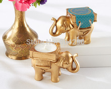 "Wedding favors and wedding decoration-- Golden ""Lucky Elephant"" Tea Light Candle Holder party gifts 100pcs/lot(China)"