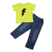 Toddler Kids Boys Clothes Set 2pcs Lightning Printed T-shirt+Jeans Denim Pants Outfits Cool Boy Fashionable Clothing(China)