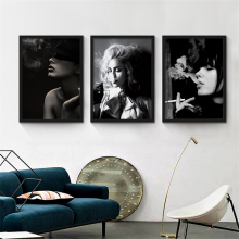Smoking Beauty Nordic Art Picture Black and White Decorative Wall Drawing Creative Canvas Mural Poster for Bedroom Bar Cafe Shop