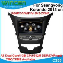 S100 A8 Dual Core 1080P Car DVD GPS Player for Ssangyong Korando 2013 on  Support Steering Wheel Control TMC TPMS(opt)