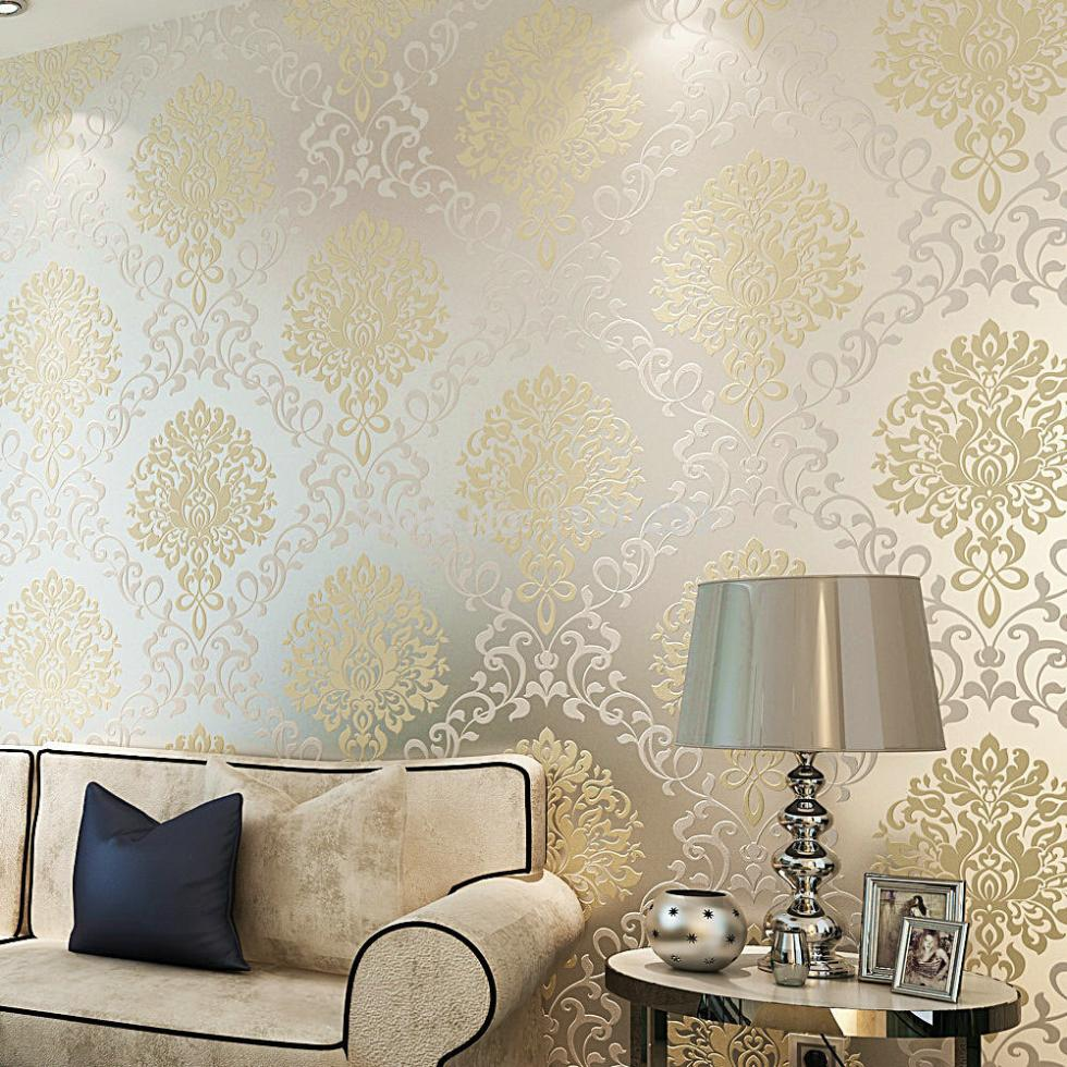 SIA Wallpaper rolls European style wallpaper environmental non woven wall covering 3D floral tapete rolls  bedroom 53x1000cm<br>