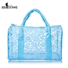 Waterproof Swimming Storage Beach Bag Tote Handbags Women PVC Transparent Letter Printing Plastic Pouch Bath Wash Bags XA372WD