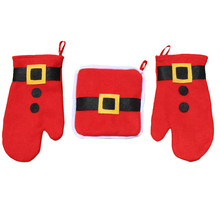 1 Set Slip-resistant Christmas microwave heat oven insulation pad burn proof gloves decoration Home Furnishing Supplies @125