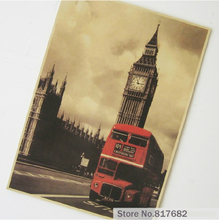 Vintage Home Decoration Kraft Paper Painting Wall Paintings In Big Ben In London Red Bus Photo Printed Draw Hanging Picture