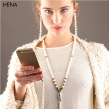HENA Fashion Jewelry pearl Necklace Earphones with Mic Beads In-ear Wired 3.5 mm Earphone for MP3 Phone Iphone Samsung Huawei(China)