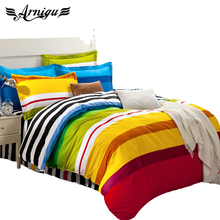 rainbow color stripe boys Bedding set for single/double bed,(flat bed sheet/Mattress cover+Duvet cover+pillow shams)4pc/5pc sets(China)