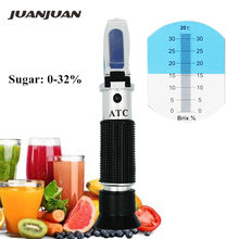 Hand held brix Refractometer tester meter with ATC +calibration oil Sugar 0-32% tools for Fruit Vegetables Juice 44% off(China)