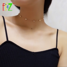F.J4U New Choker Necklaces Fashion Brand Designer Golden Alloy Stars Beaded Chain Choker Collar Necklace bijoux