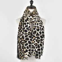 Women Leopard Print Scarf Women Satin Tassel Wrap Female Winter Soft Pashmina Women Beach Echarpe Lady Luxury Brand Shawls(China)