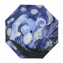 Van Gogh Famous Brand Folding Umbrella Rain Women Fashion Oil Painting Black coating Parasol Beach Umbrellas Sun/Rain Men YP0100