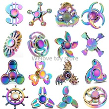 Fidget Spinner Bright Colorful Tri-Spinner Rudder UFO Rainbow Bauhinia Flower Star Heart Metal Hand Anti-Stress Toys Best Gifts